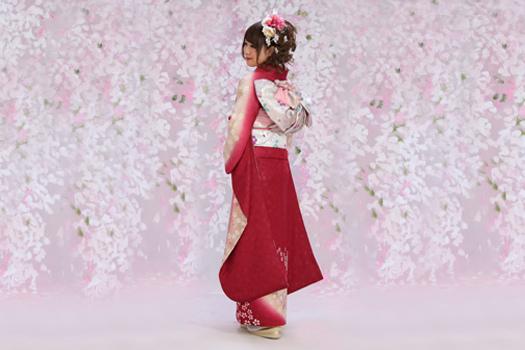 振袖の袖が長い理由とは。枝垂れ桜を背景に振袖撮影を行っている画像